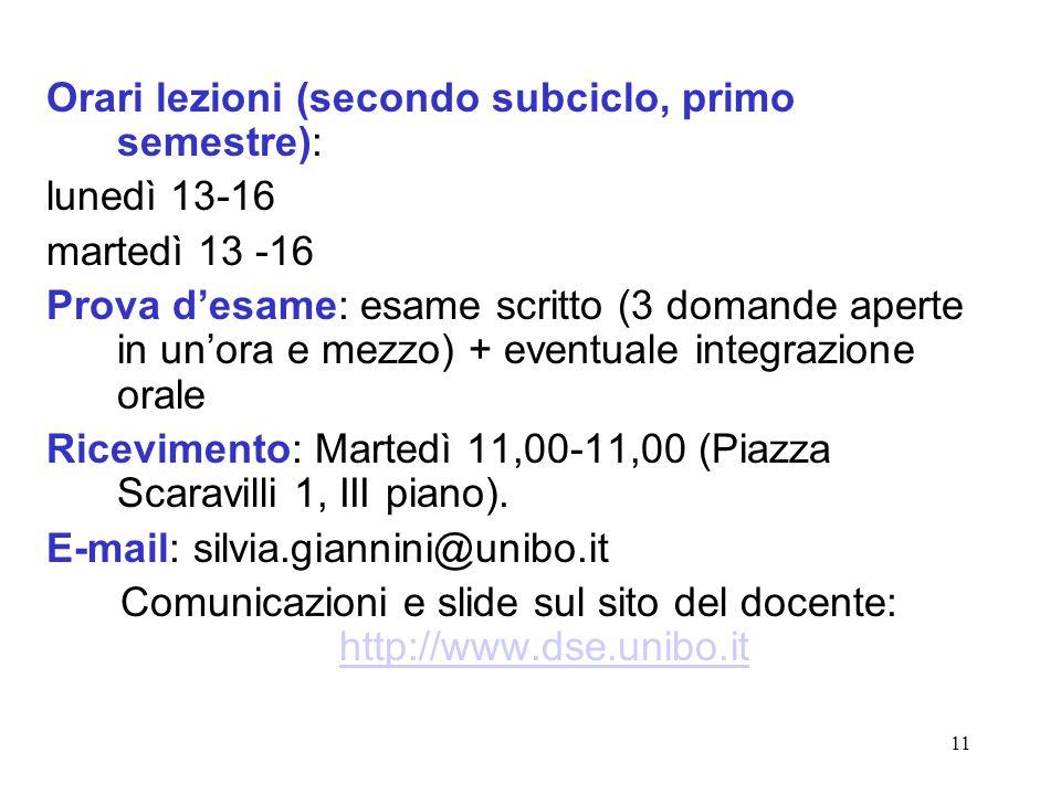 Comunicazioni e slide sul sito del docente: http://www.dse.unibo.it