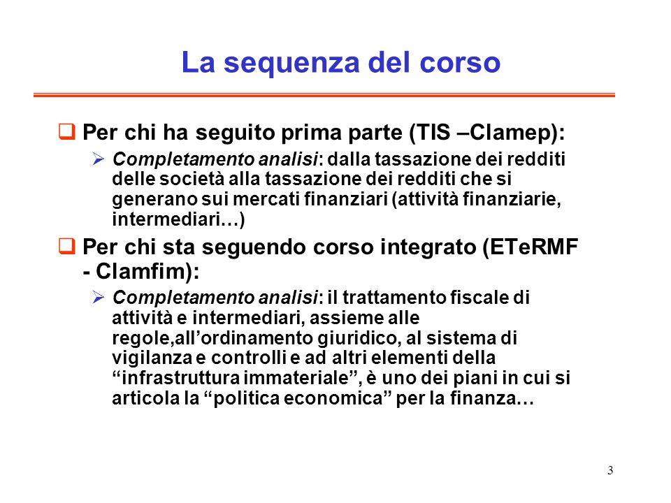 La sequenza del corso Per chi ha seguito prima parte (TIS –Clamep):