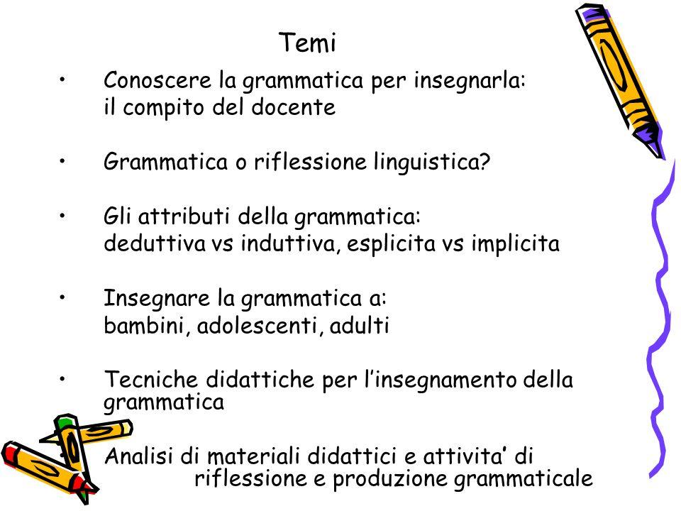 Temi Conoscere la grammatica per insegnarla: il compito del docente