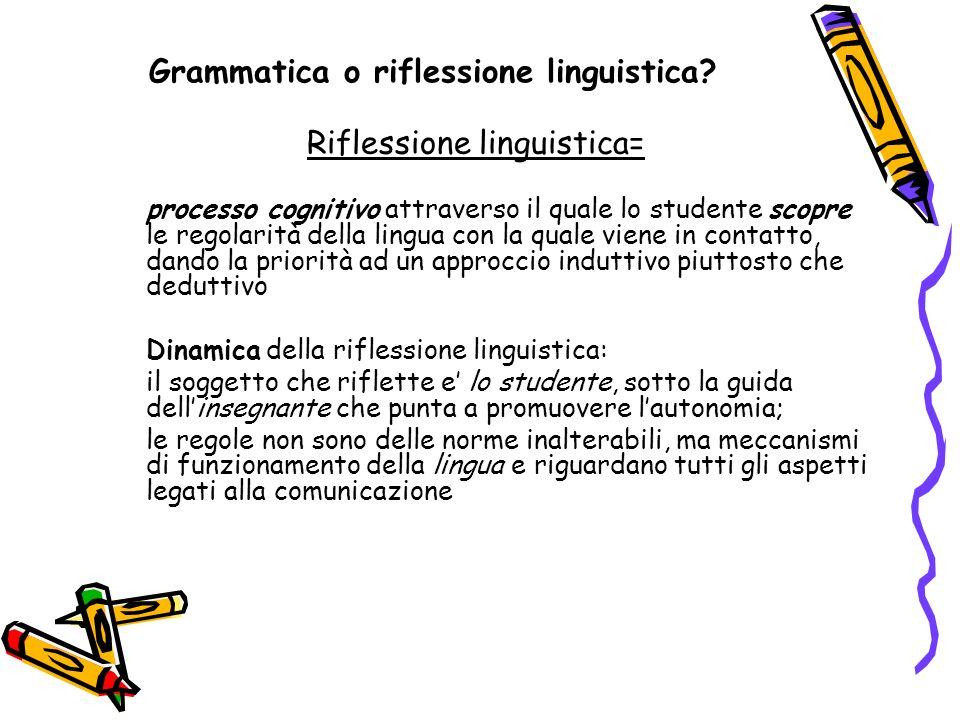 Grammatica o riflessione linguistica