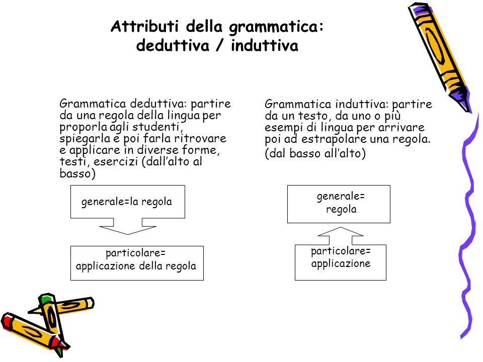 Attributi della grammatica: deduttiva / induttiva