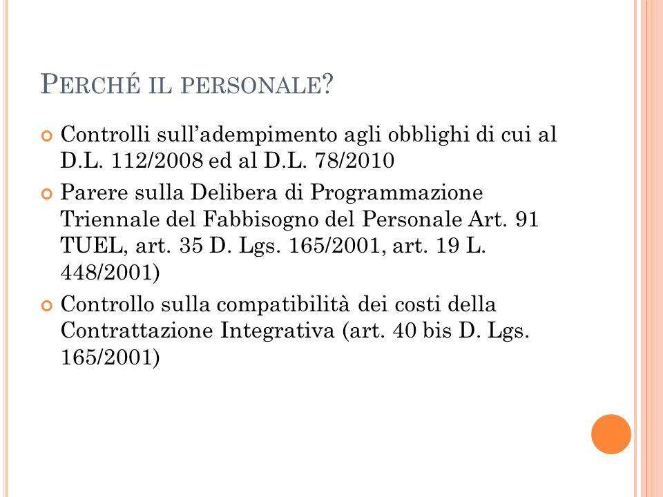 Perché il personale Controlli sull'adempimento agli obblighi di cui al D.L. 112/2008 ed al D.L. 78/2010.