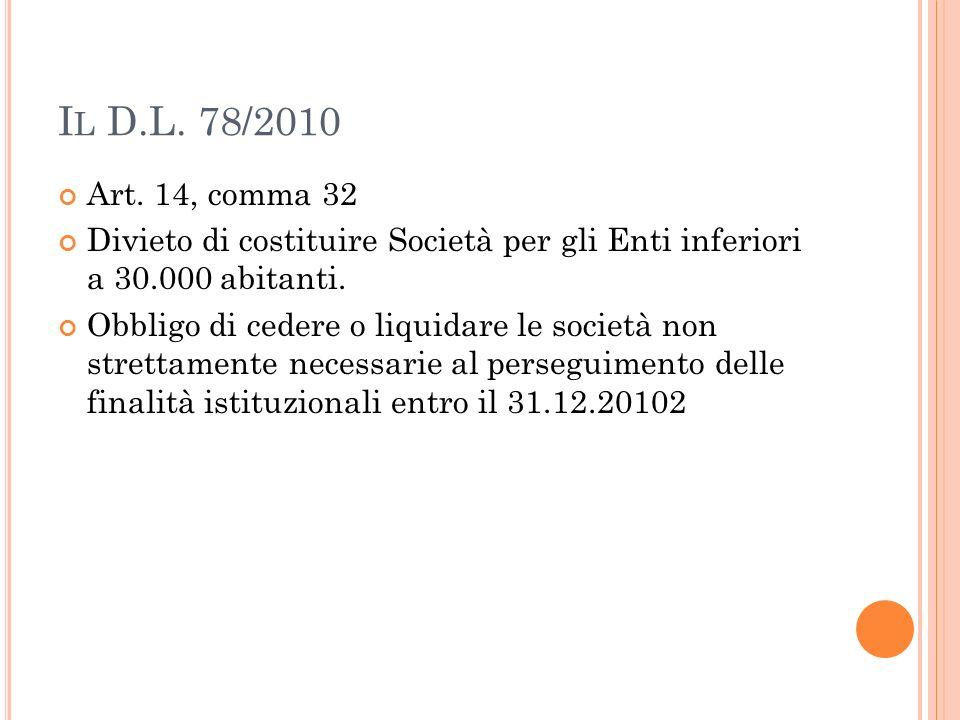 Il D.L. 78/2010 Art. 14, comma 32. Divieto di costituire Società per gli Enti inferiori a 30.000 abitanti.