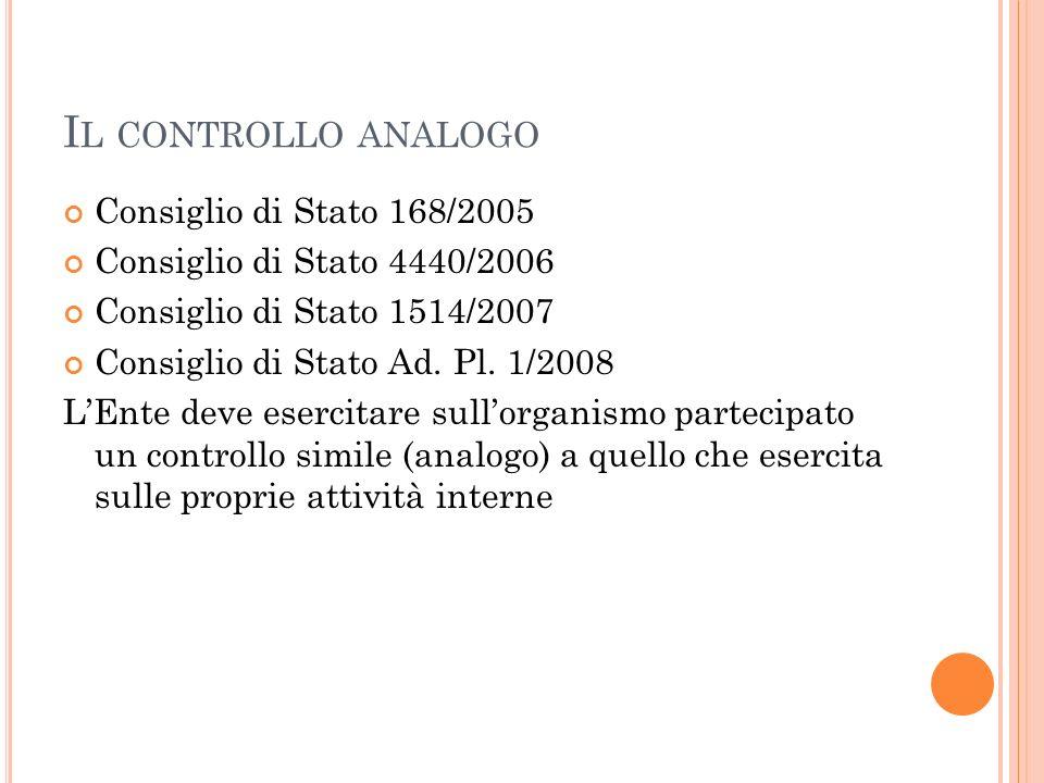 Il controllo analogo Consiglio di Stato 168/2005