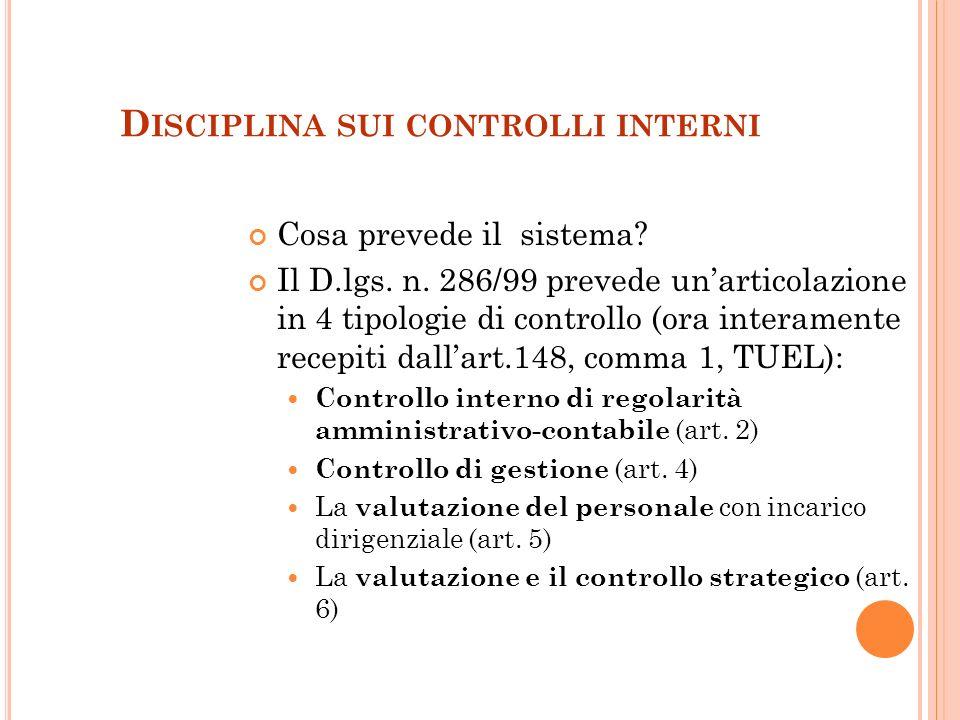 Disciplina sui controlli interni