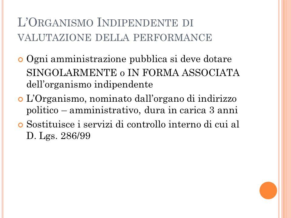 L'Organismo Indipendente di valutazione della performance