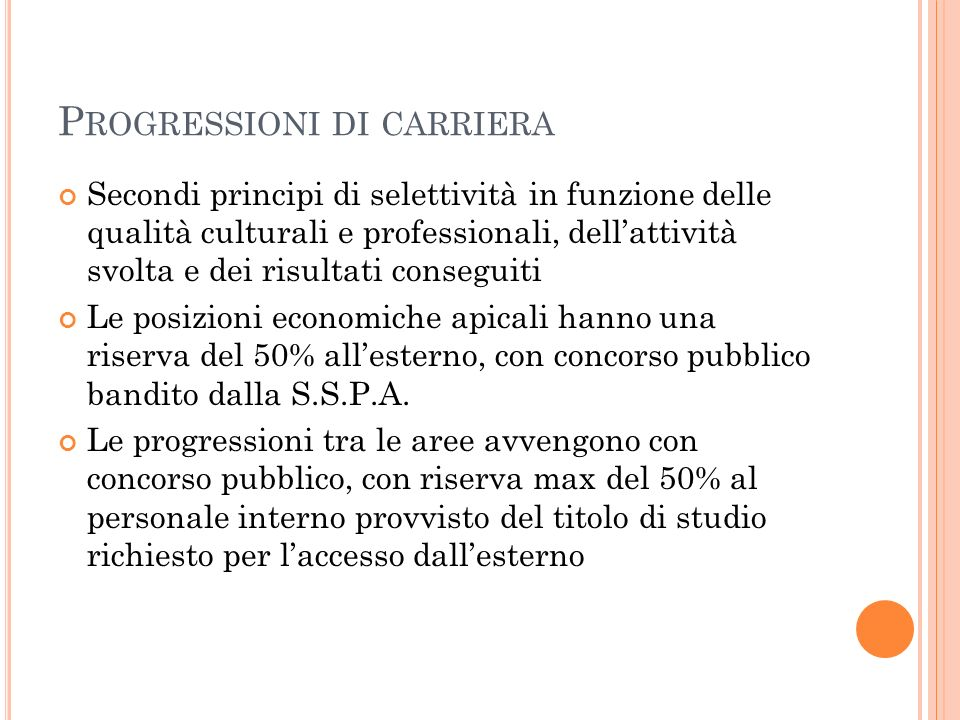 Progressioni di carriera