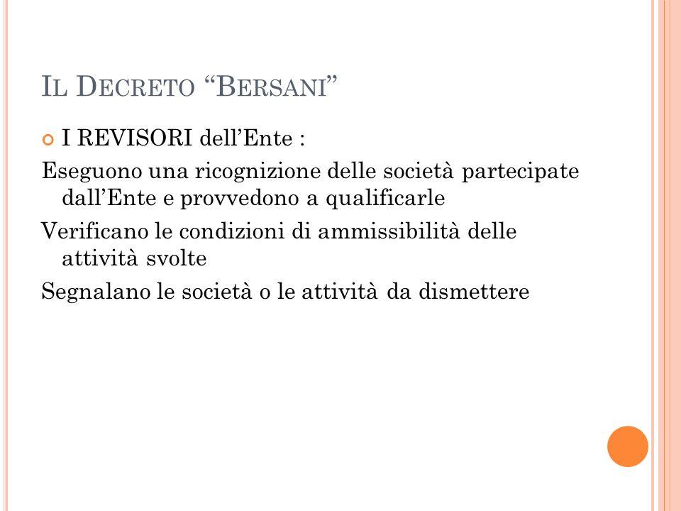 Il Decreto Bersani I REVISORI dell'Ente :