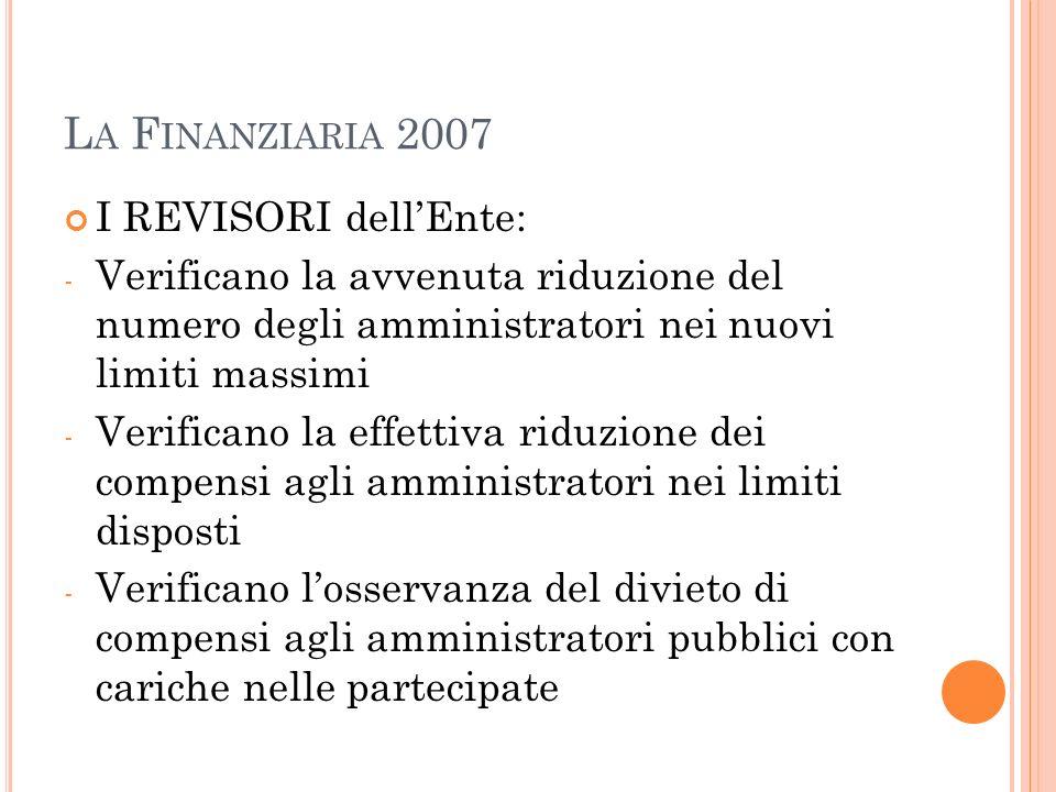La Finanziaria 2007 I REVISORI dell'Ente: