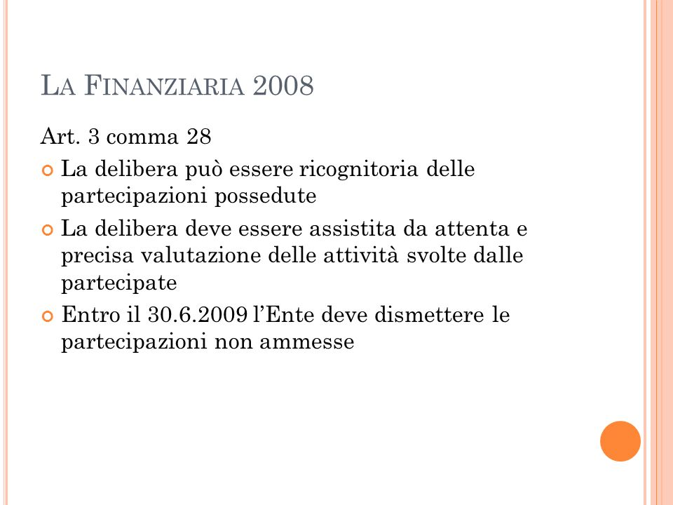 La Finanziaria 2008 Art. 3 comma 28