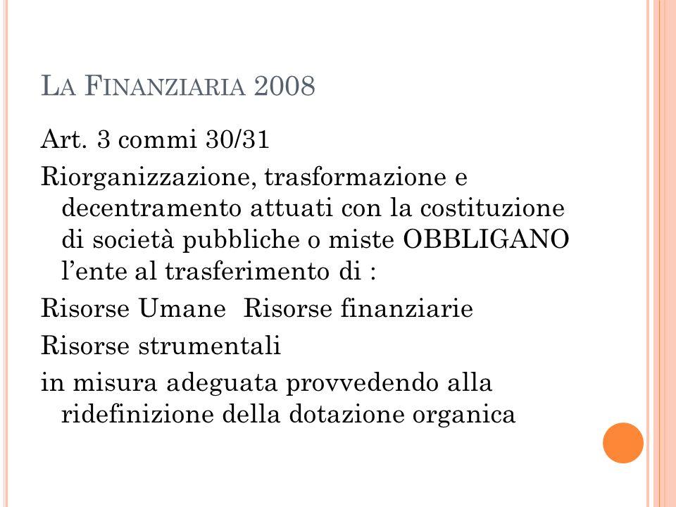 La Finanziaria 2008 Art. 3 commi 30/31