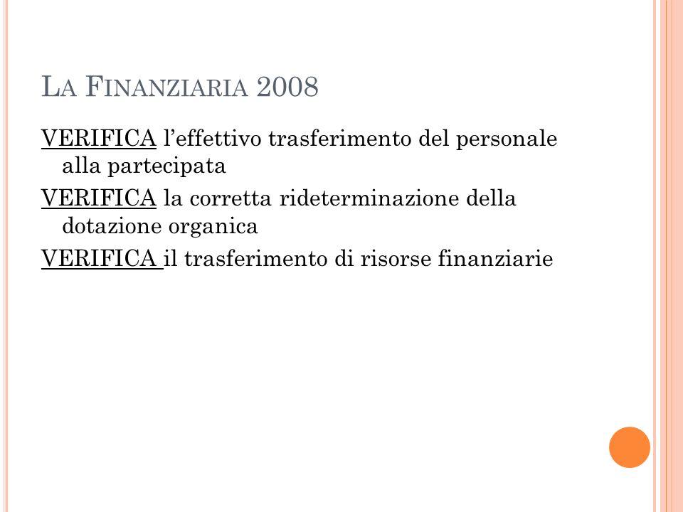 La Finanziaria 2008 VERIFICA l'effettivo trasferimento del personale alla partecipata.