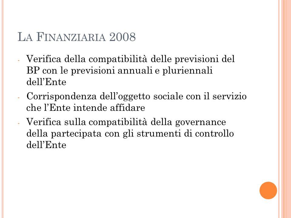 La Finanziaria 2008 Verifica della compatibilità delle previsioni del BP con le previsioni annuali e pluriennali dell'Ente.