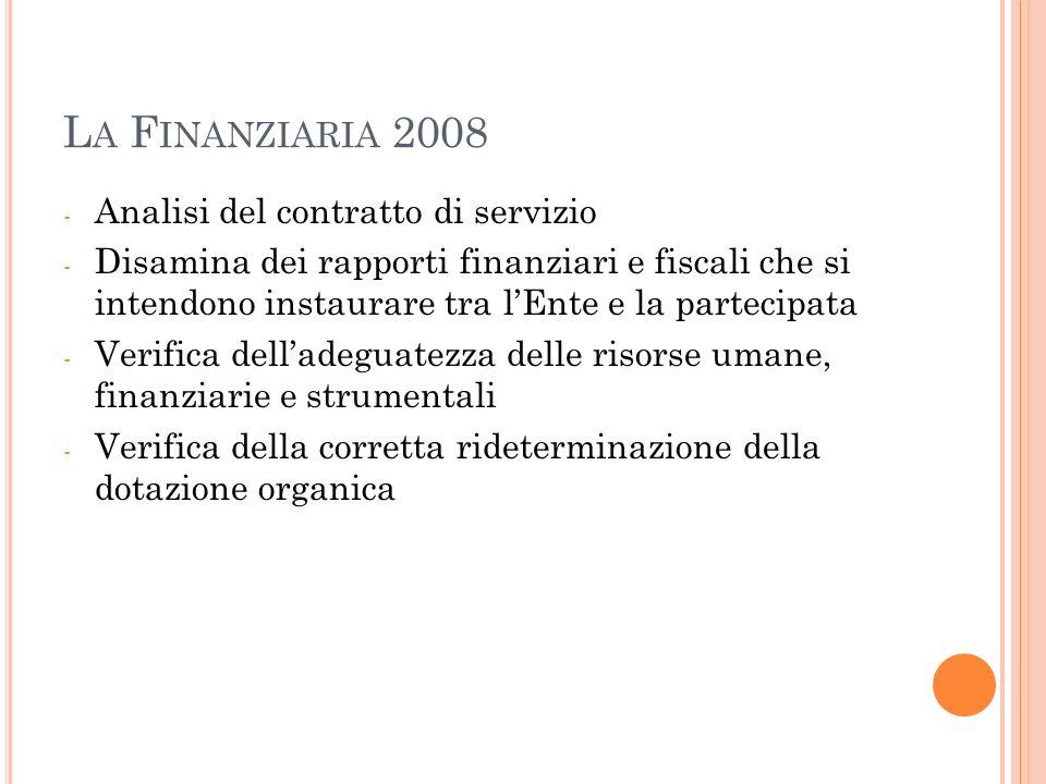 La Finanziaria 2008 Analisi del contratto di servizio