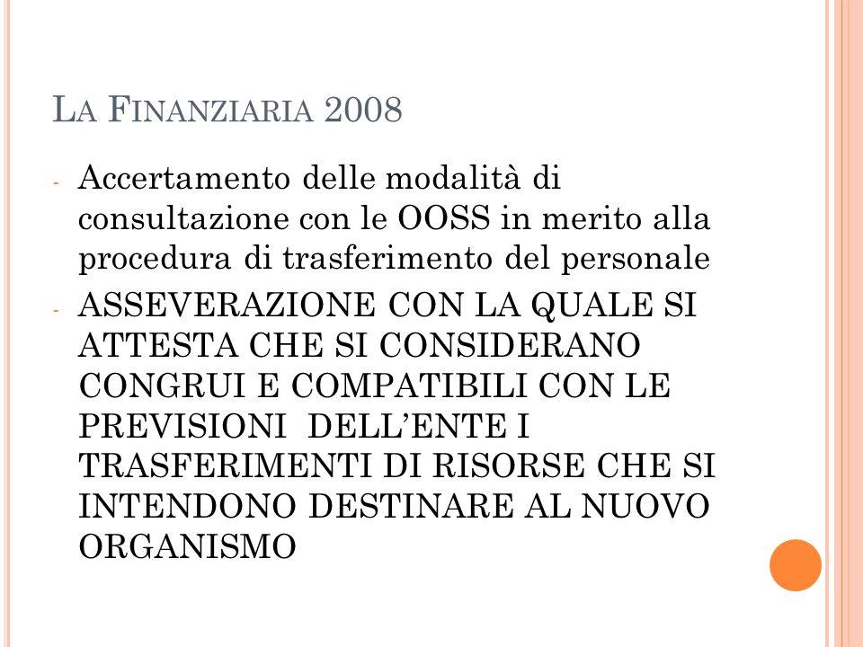 La Finanziaria 2008 Accertamento delle modalità di consultazione con le OOSS in merito alla procedura di trasferimento del personale.