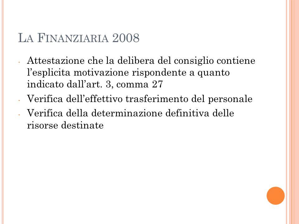 La Finanziaria 2008 Attestazione che la delibera del consiglio contiene l'esplicita motivazione rispondente a quanto indicato dall'art. 3, comma 27.