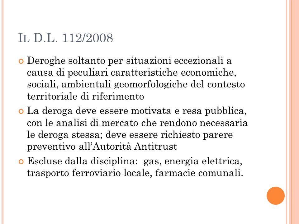 Il D.L. 112/2008