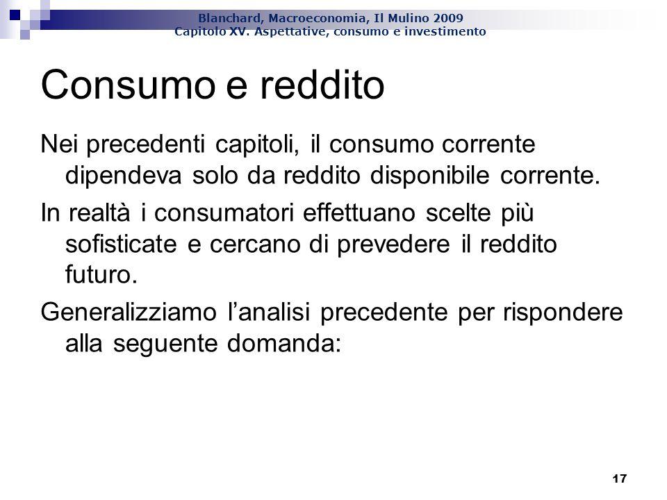 Consumo e reddito Nei precedenti capitoli, il consumo corrente dipendeva solo da reddito disponibile corrente.
