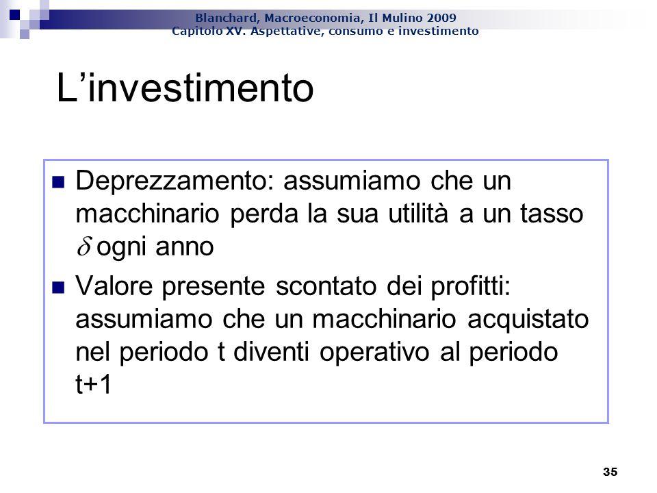 L'investimento Deprezzamento: assumiamo che un macchinario perda la sua utilità a un tasso d ogni anno.