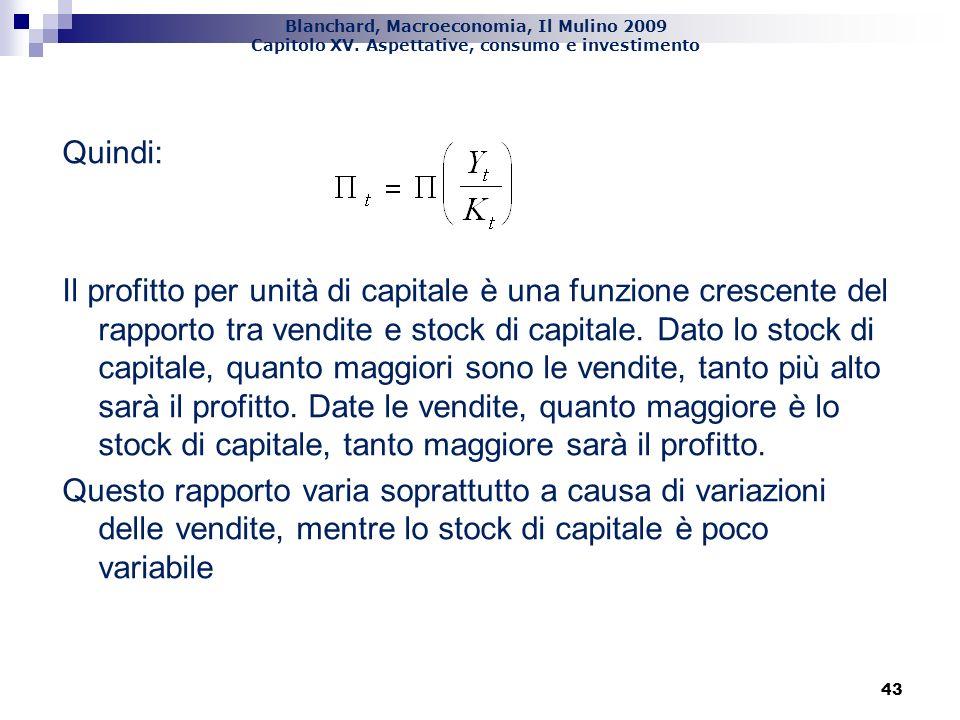 Quindi: Il profitto per unità di capitale è una funzione crescente del rapporto tra vendite e stock di capitale. Dato lo stock di capitale, quanto maggiori sono le vendite, tanto più alto sarà il profitto. Date le vendite, quanto maggiore è lo stock di capitale, tanto maggiore sarà il profitto. Questo rapporto varia soprattutto a causa di variazioni delle vendite, mentre lo stock di capitale è poco variabile