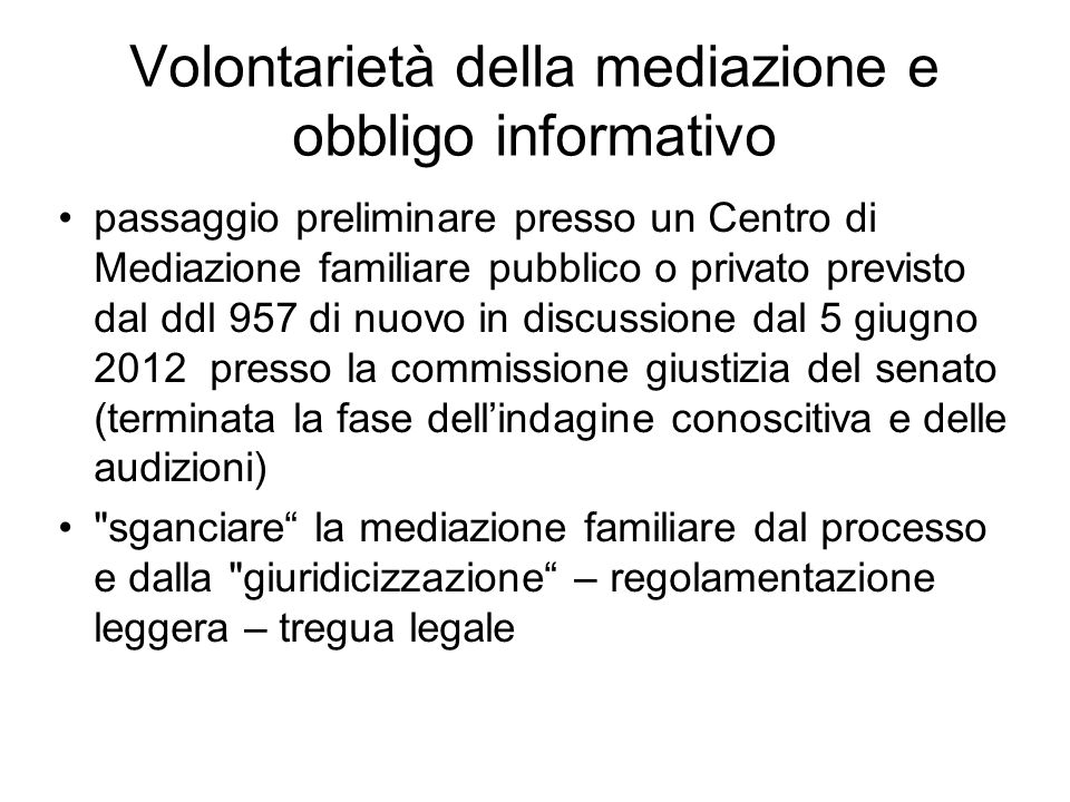 Volontarietà della mediazione e obbligo informativo