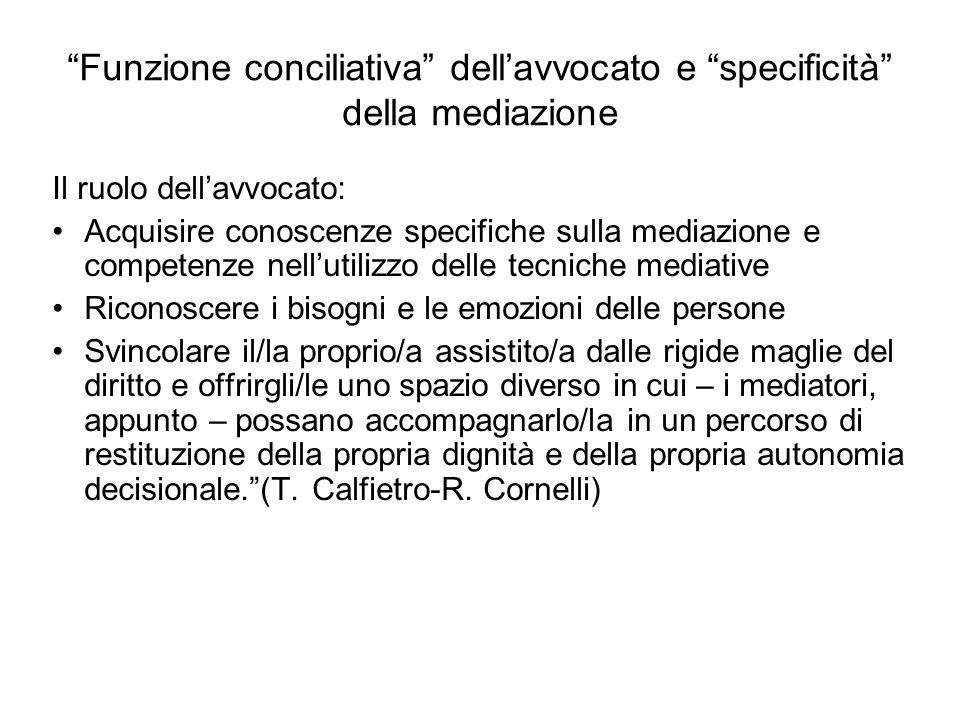 Funzione conciliativa dell'avvocato e specificità della mediazione