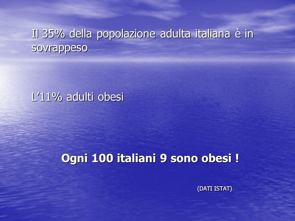 Ogni 100 italiani 9 sono obesi !