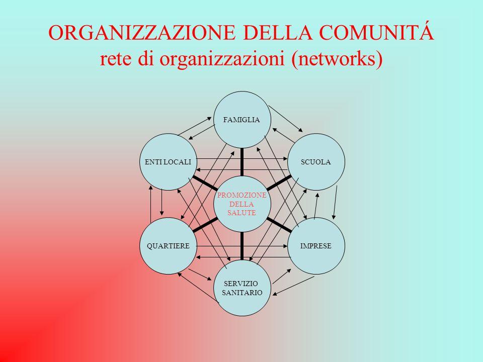 ORGANIZZAZIONE DELLA COMUNITÁ rete di organizzazioni (networks)