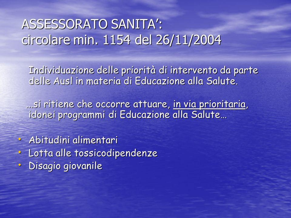 ASSESSORATO SANITA': circolare min. 1154 del 26/11/2004