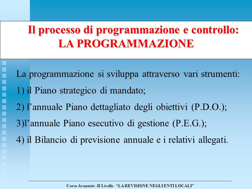 Il processo di programmazione e controllo: LA PROGRAMMAZIONE