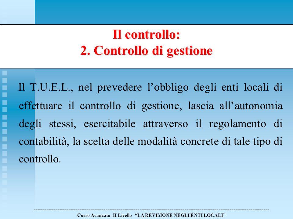 Il controllo: 2. Controllo di gestione.