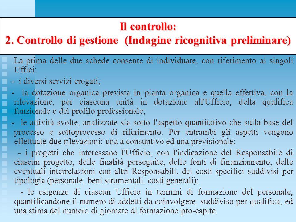 2. Controllo di gestione (Indagine ricognitiva preliminare)