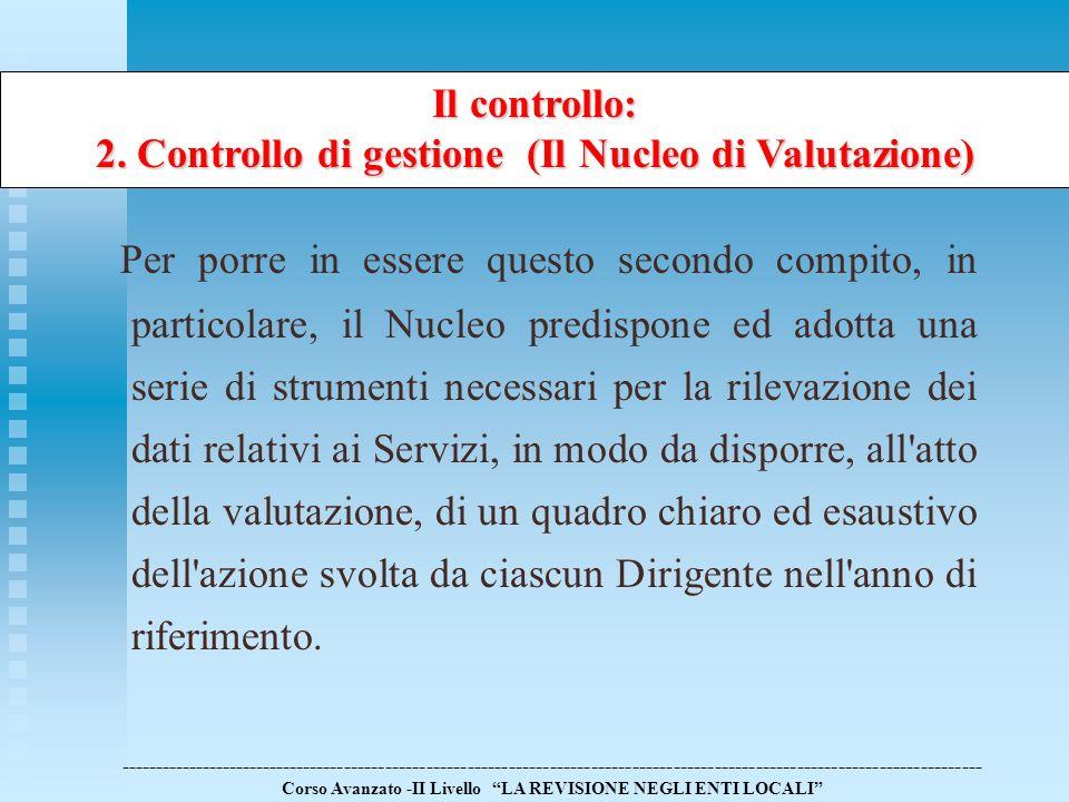 2. Controllo di gestione (Il Nucleo di Valutazione)