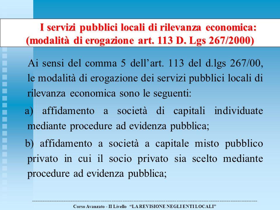 I servizi pubblici locali di rilevanza economica: