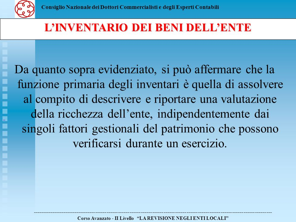 L'INVENTARIO DEI BENI DELL'ENTE