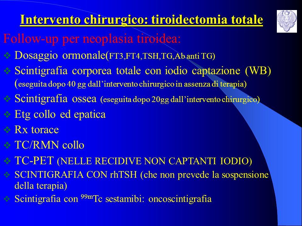 Intervento chirurgico: tiroidectomia totale