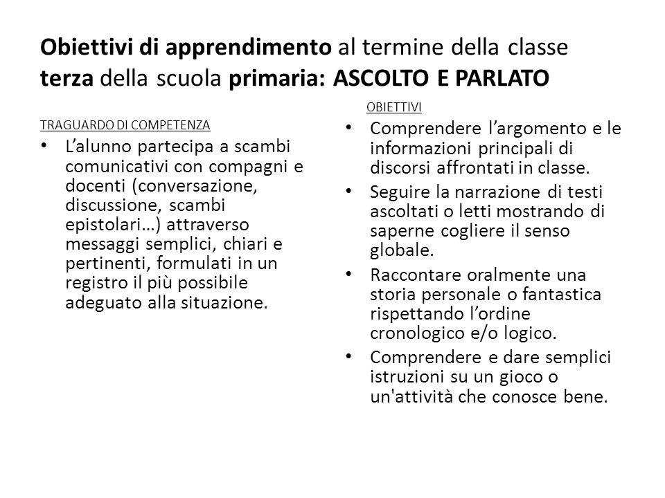 Obiettivi di apprendimento al termine della classe terza della scuola primaria: ASCOLTO E PARLATO