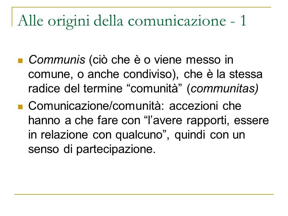 Alle origini della comunicazione - 1