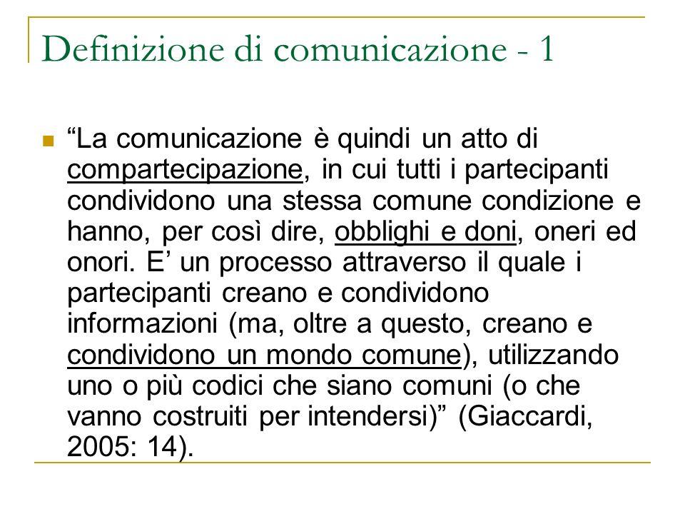 Definizione di comunicazione - 1
