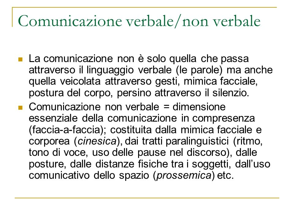 Comunicazione verbale/non verbale
