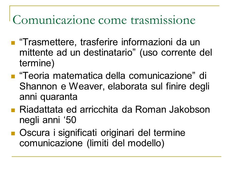 Comunicazione come trasmissione