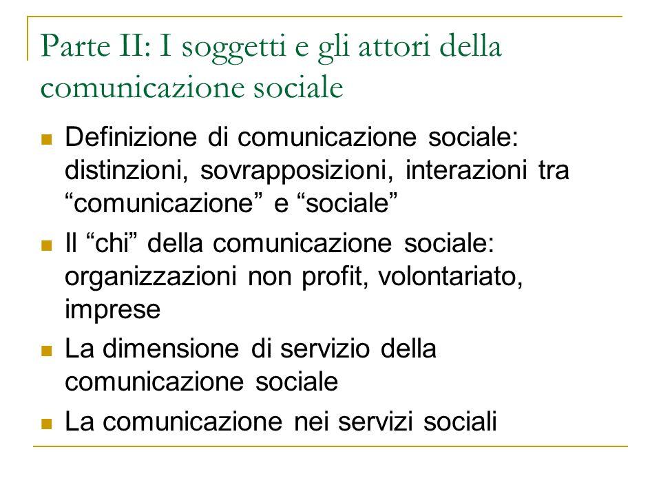 Parte II: I soggetti e gli attori della comunicazione sociale