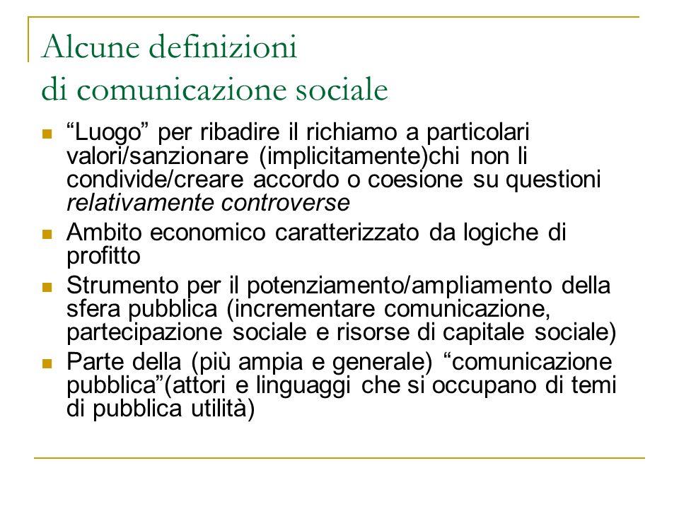 Alcune definizioni di comunicazione sociale