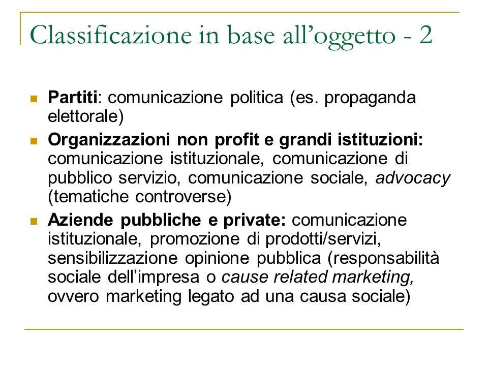 Classificazione in base all'oggetto - 2