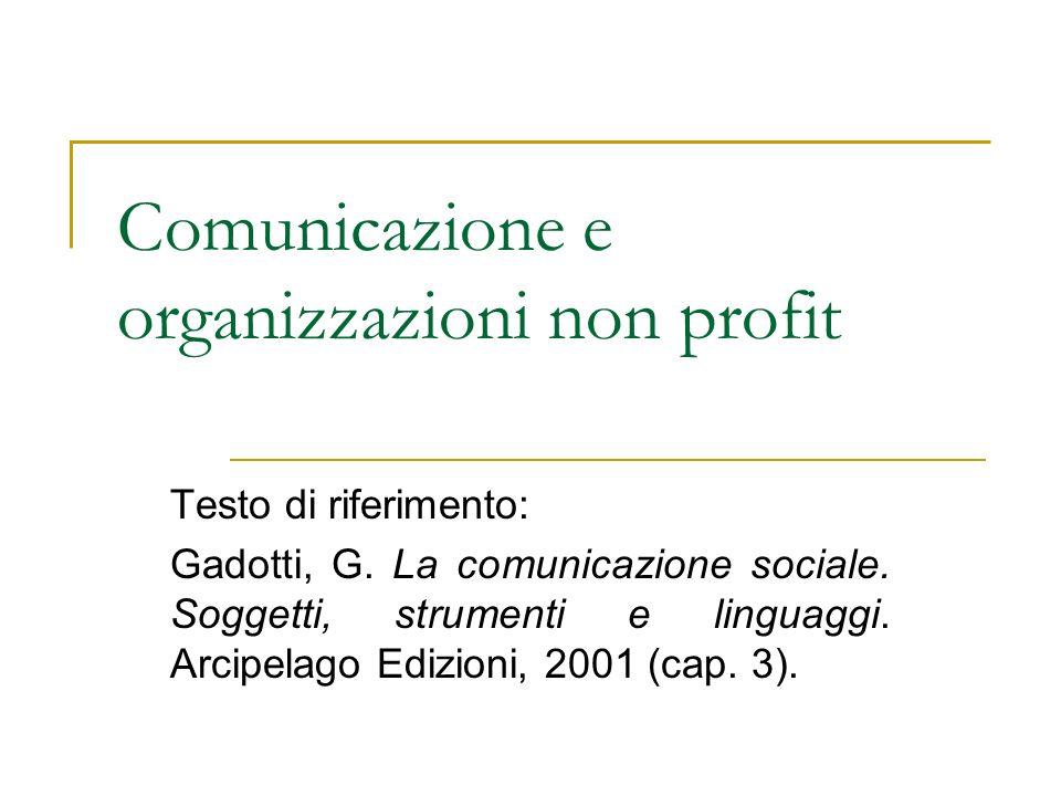 Comunicazione e organizzazioni non profit