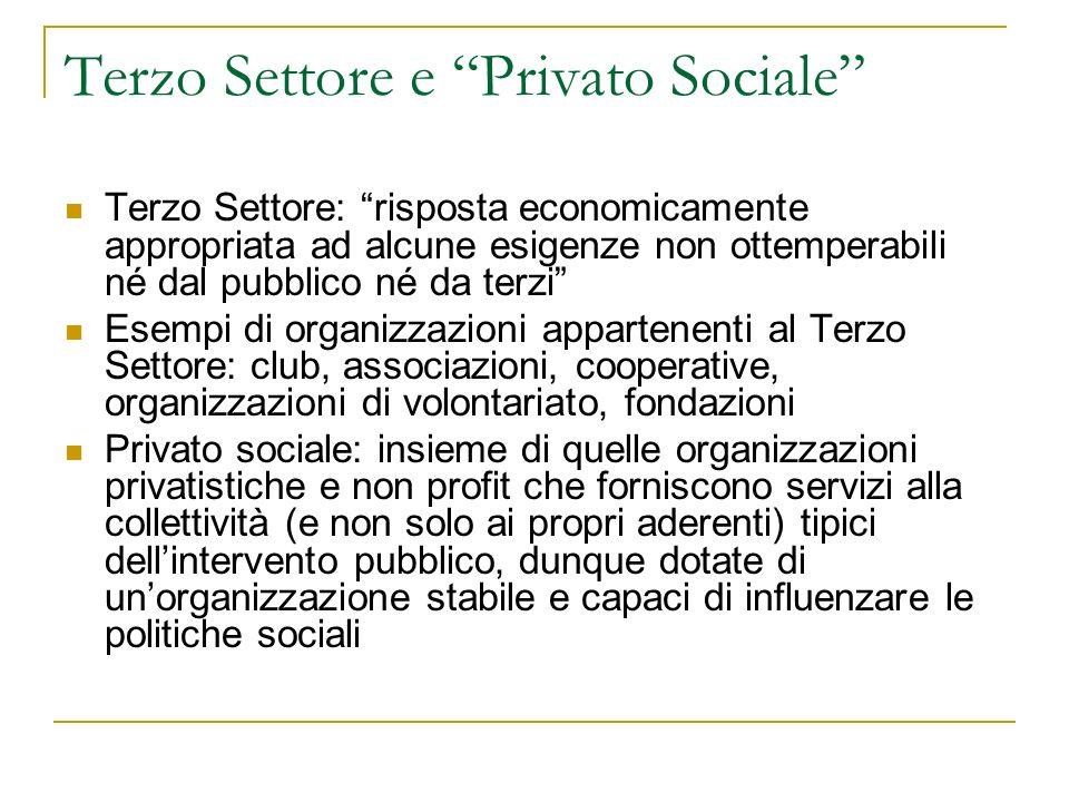Terzo Settore e Privato Sociale