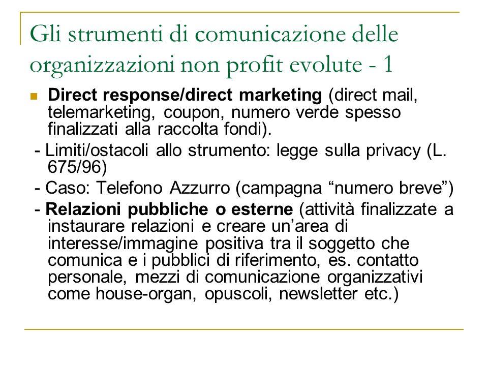 Gli strumenti di comunicazione delle organizzazioni non profit evolute - 1