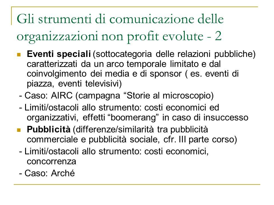 Gli strumenti di comunicazione delle organizzazioni non profit evolute - 2