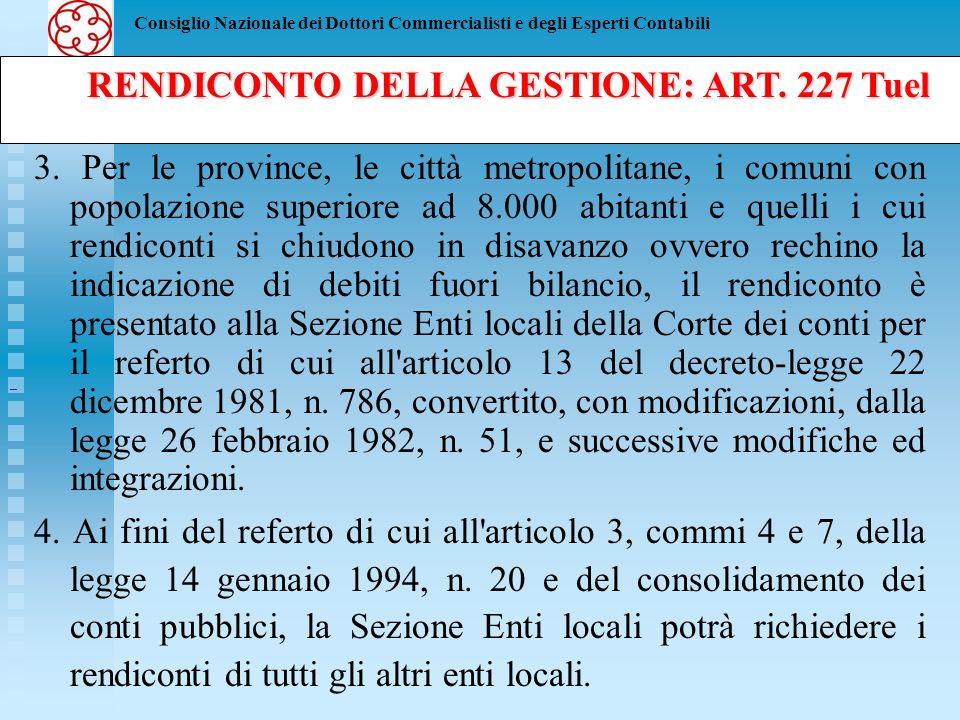 RENDICONTO DELLA GESTIONE: ART. 227 Tuel