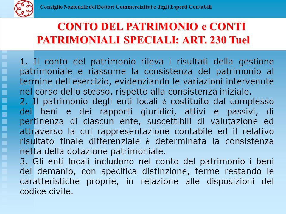 CONTO DEL PATRIMONIO e CONTI PATRIMONIALI SPECIALI: ART. 230 Tuel